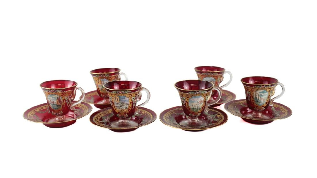 Six Venetian Enameled Glass Cup & Saucers