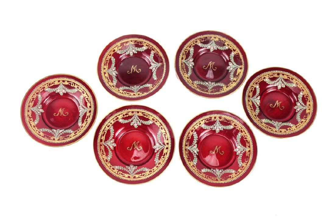 Six Venetian Enameled Glass Cup & Saucers - 2