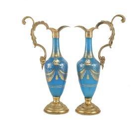 Blue Opaline Glass & Bronze Ewers