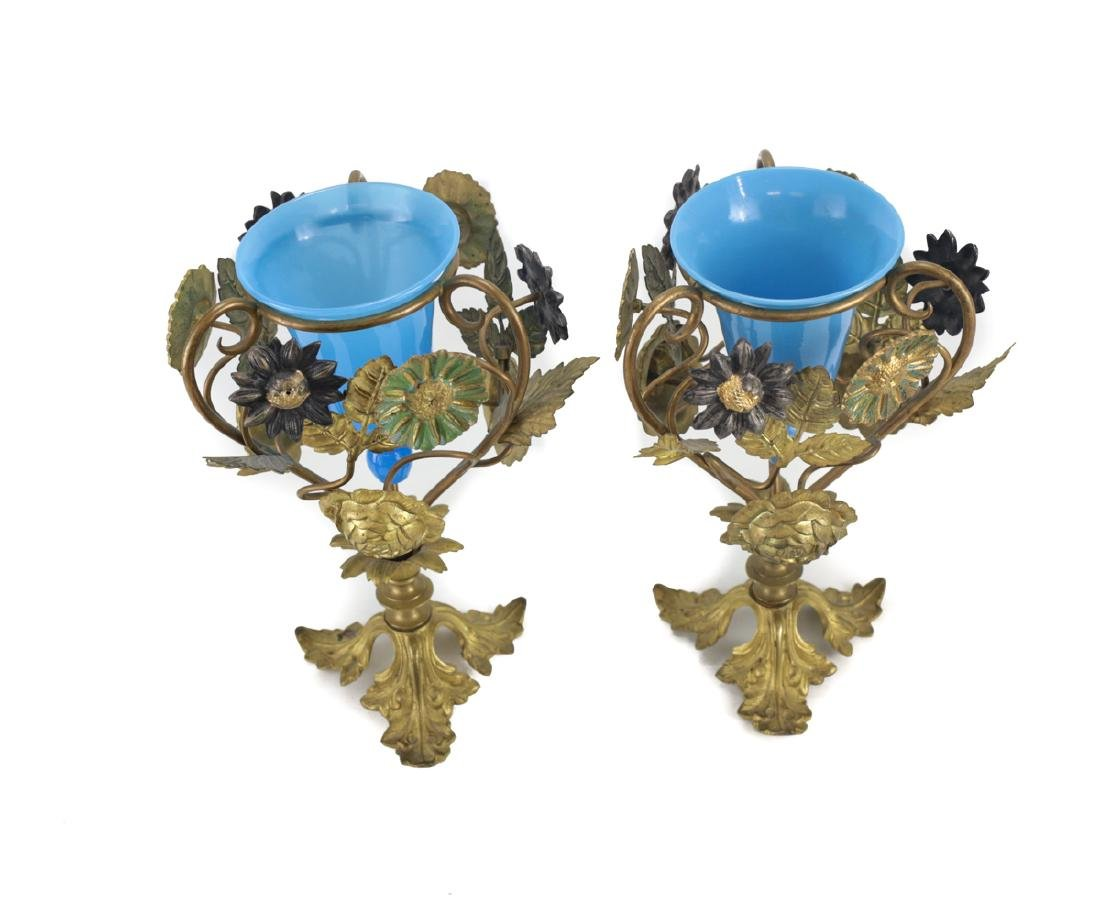 Blue Opaline Glass Lined & Bronze Vases