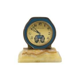 L'Escarpolette Brass & Enamel Desk Clock