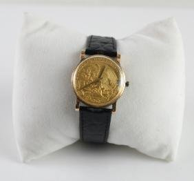 18k Gold & 1862 Mexican Coin Watch