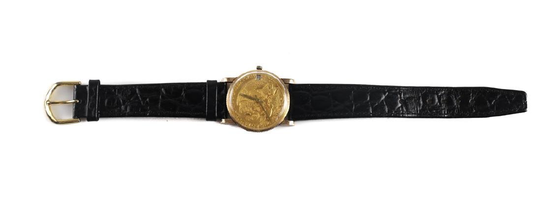 18k Gold & 1862 Mexican Coin Watch - 2