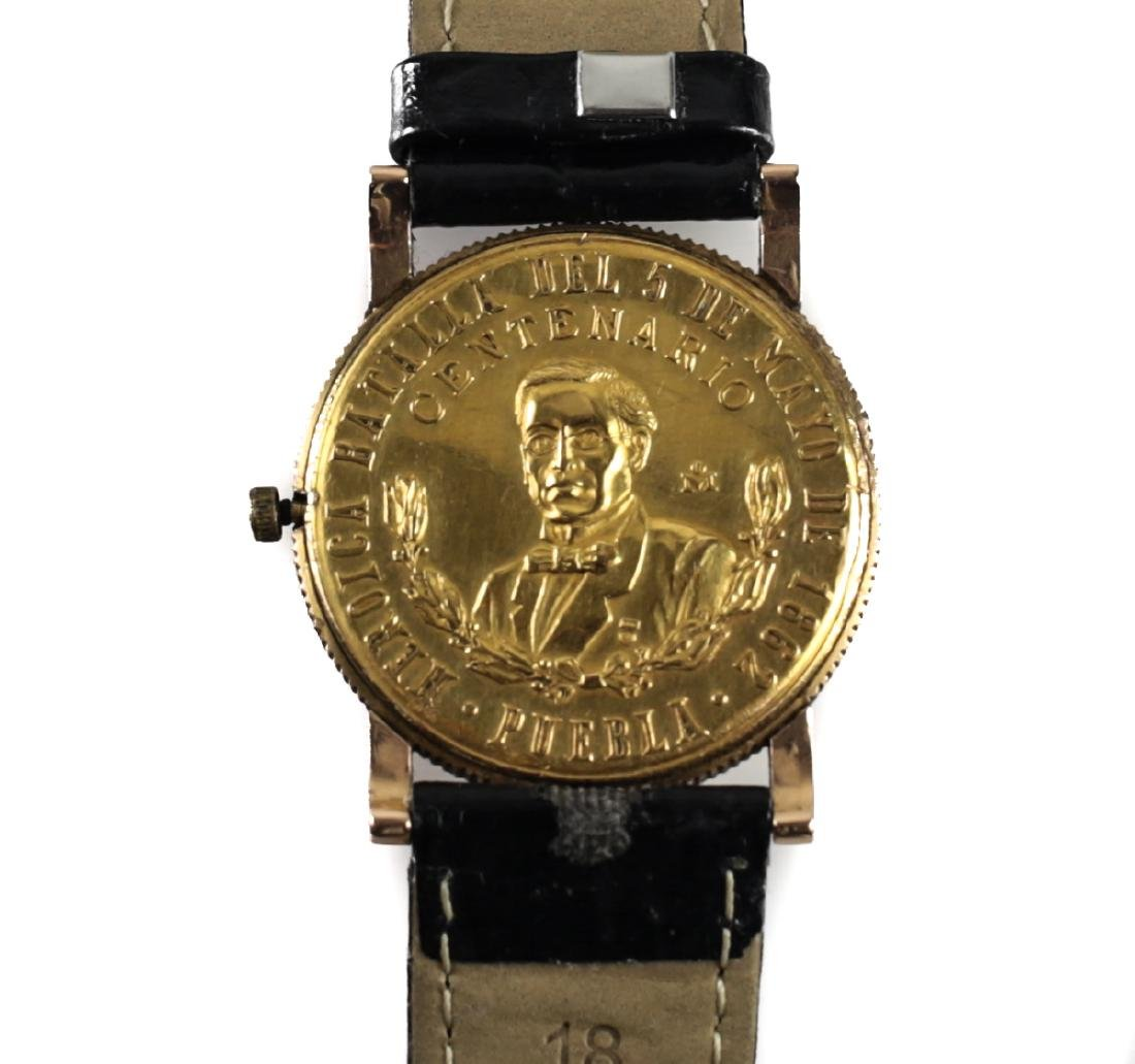 18k Gold & 1862 Mexican Coin Watch - 4