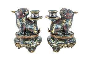 Chinese Cloisonne & Enamel Candlesticks Foo Dog