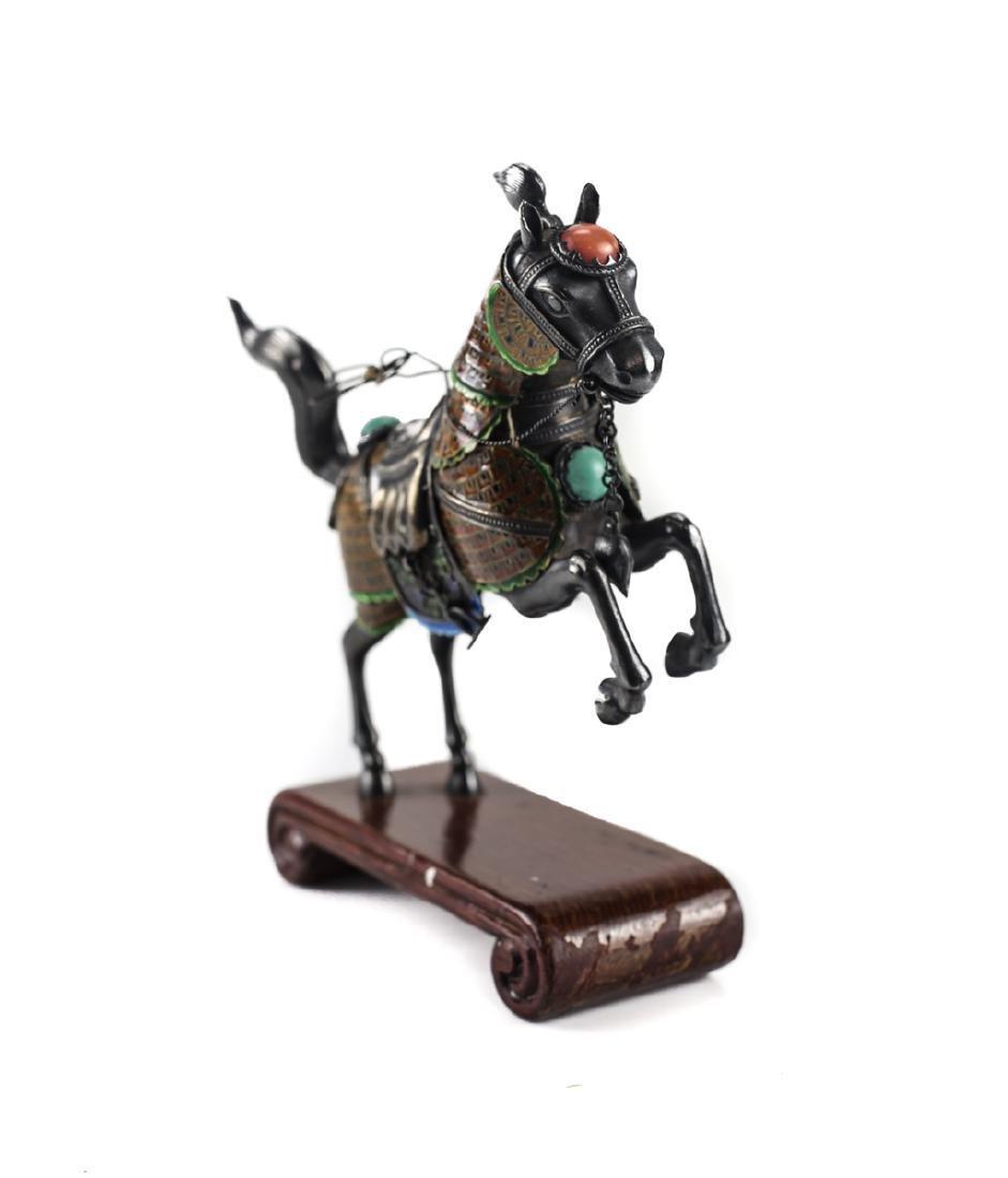 Silver & Enamel Horse Figurine - 2