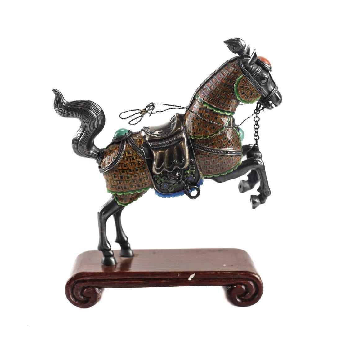 Silver & Enamel Horse Figurine - 4