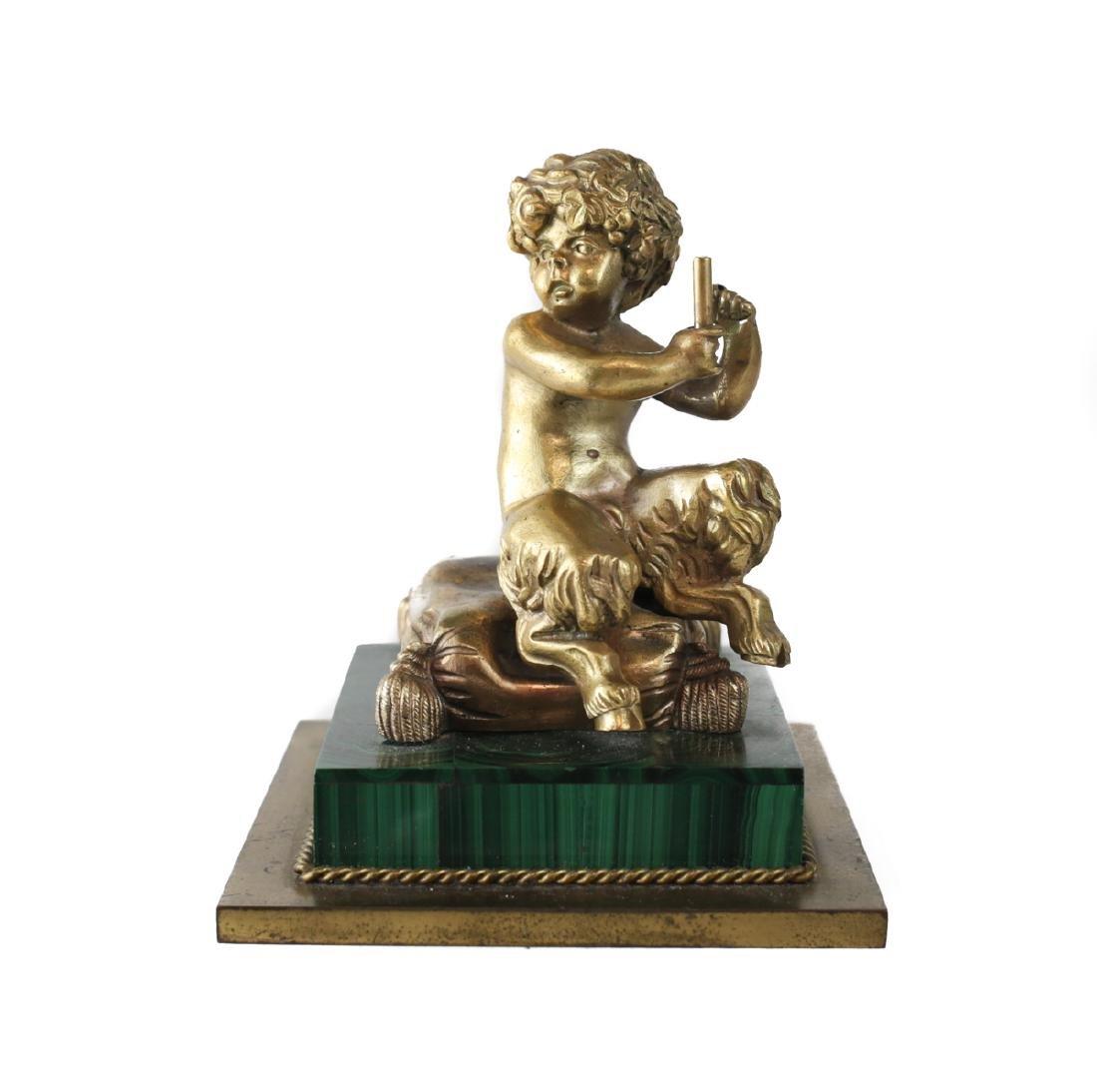 Bronze Putti Figurine on Malachite Base