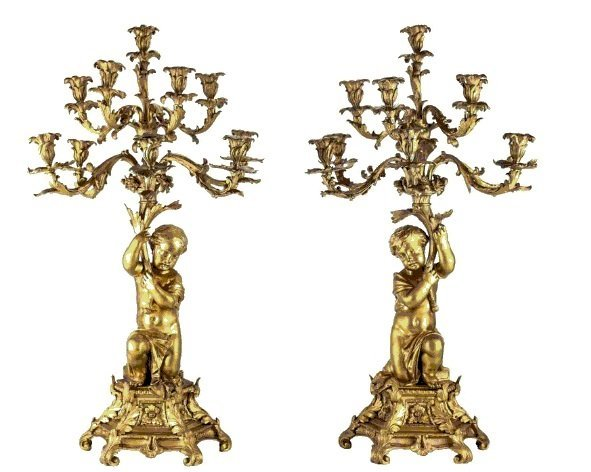 Pair of French Napollean iii Gilt Bronze Figural