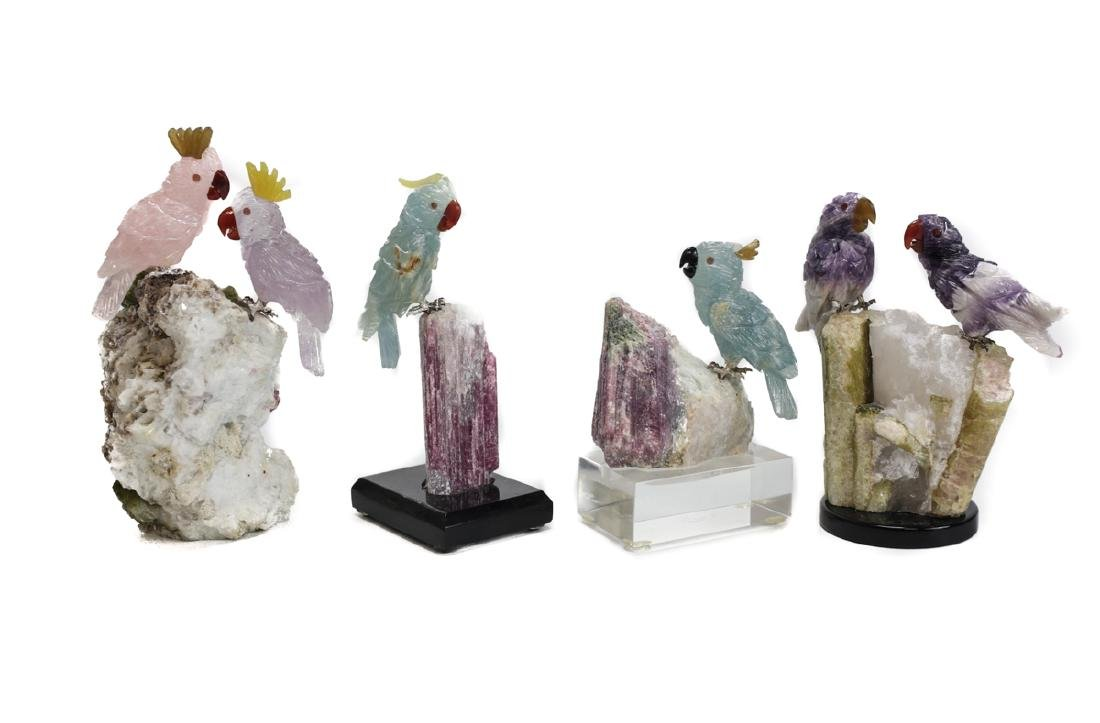 Handcarved Gemstone Birds on Stone Bases