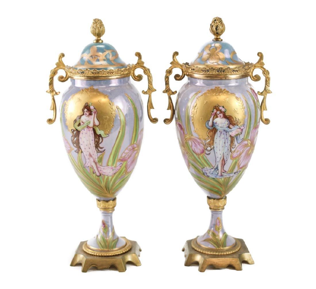 Pair Sevres Porcelain & bronze covered urns