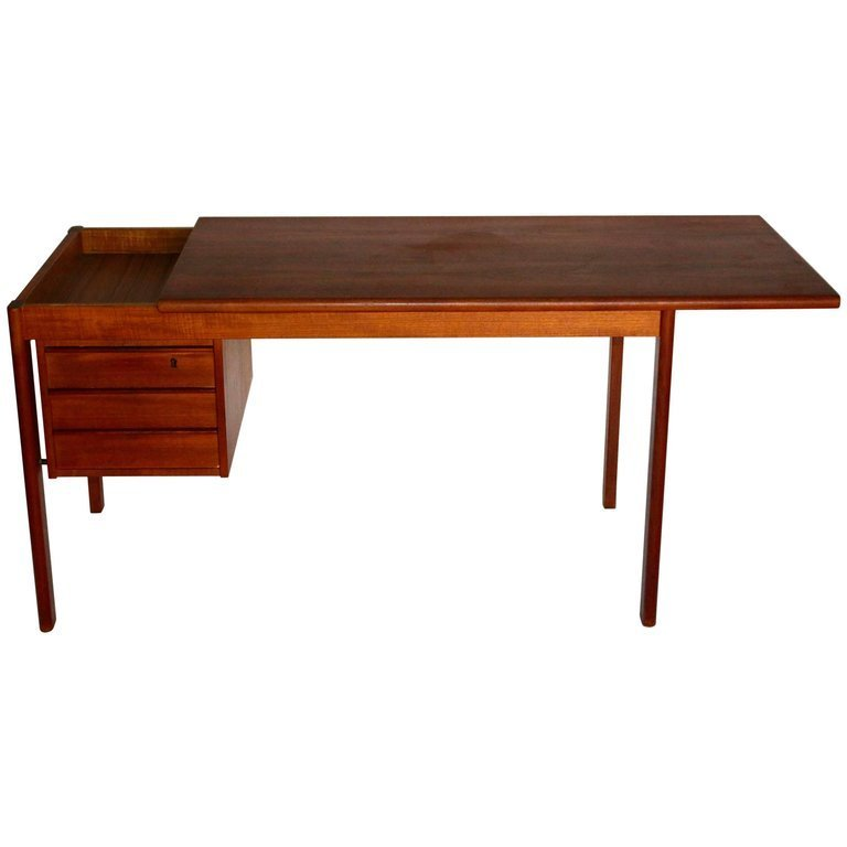 Sliding Top Teak Desk with Three Drawers