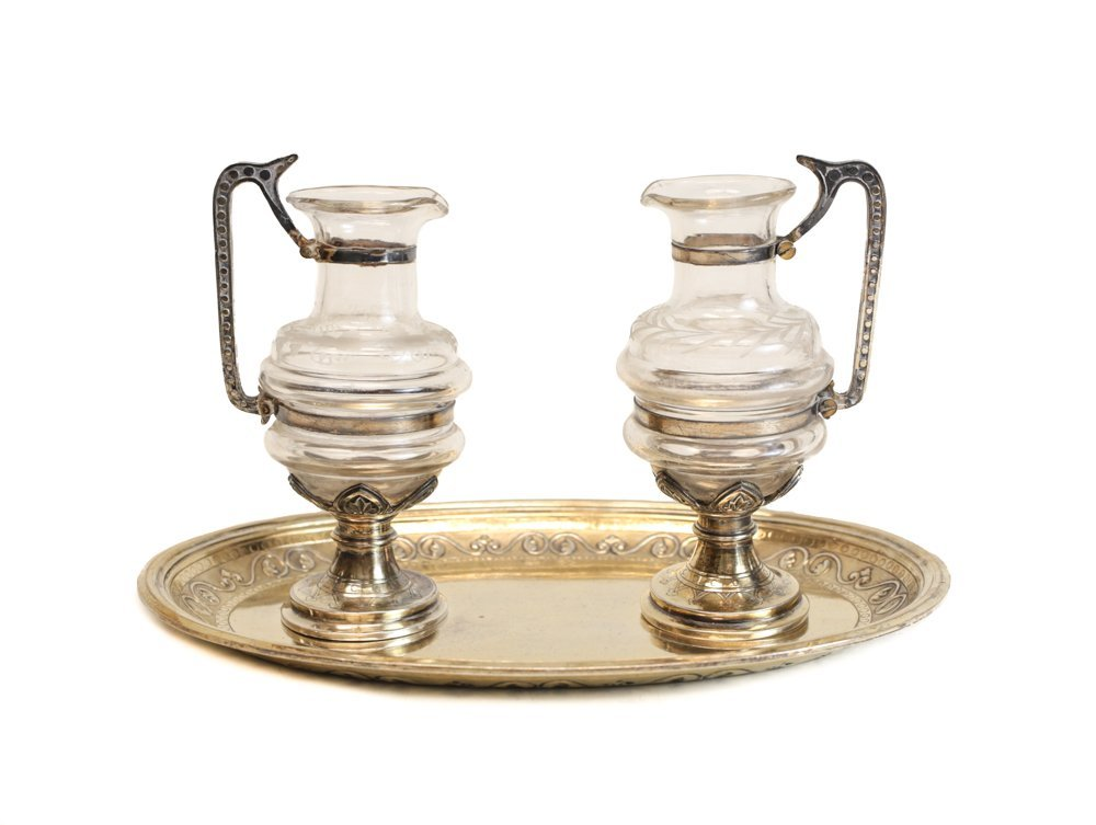 French Gilt Silver Oil & Vinegar Serving Set