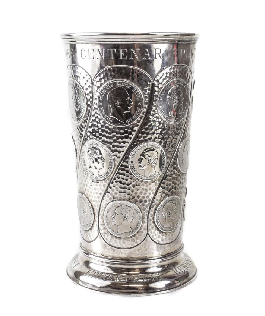 German Coin Mounted Silver Vase