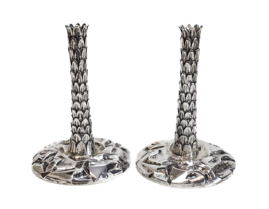 Pair Sterling  Palm Tree Candlesticks for Tiffany & Co.