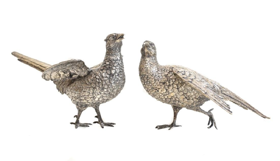 Pair Large Sterling Silver Pheasant Figures