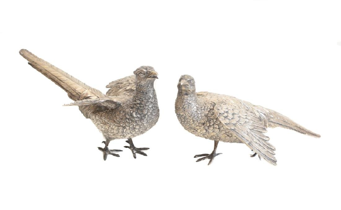 Pair Large Sterling Silver Pheasant Figures - 2