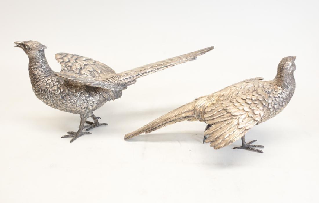 Pair Large Sterling Silver Pheasant Figures - 3
