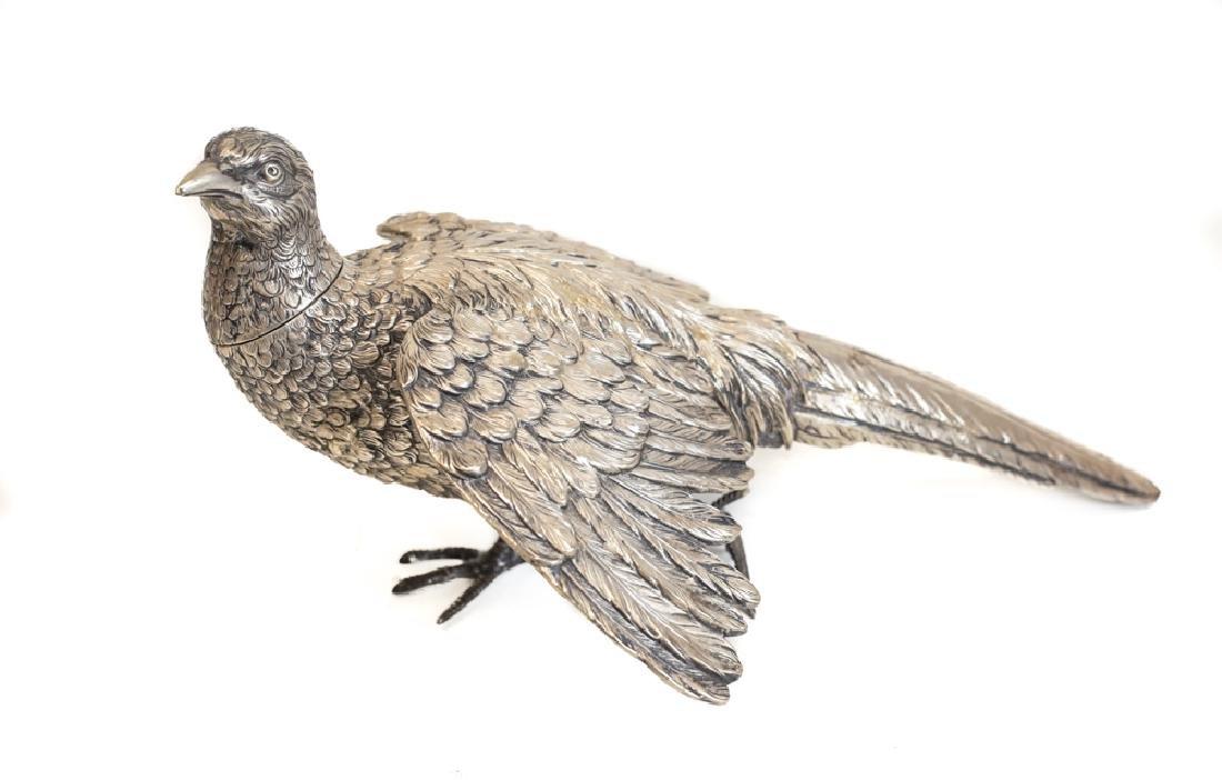 Pair Large Sterling Silver Pheasant Figures - 5