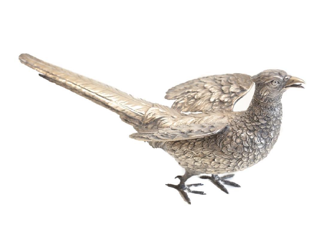Pair Large Sterling Silver Pheasant Figures - 8
