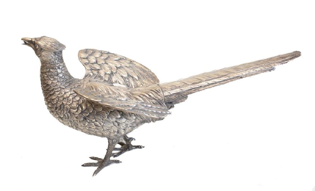 Pair Large Sterling Silver Pheasant Figures - 9