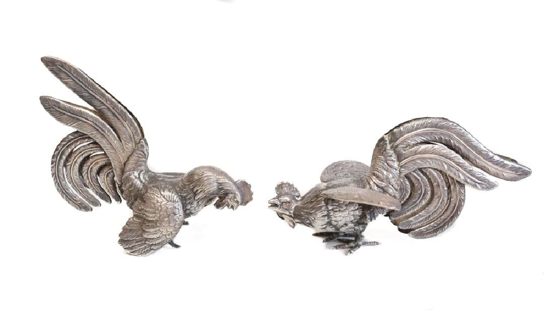 Pair of Silver Bird Figure Ornaments