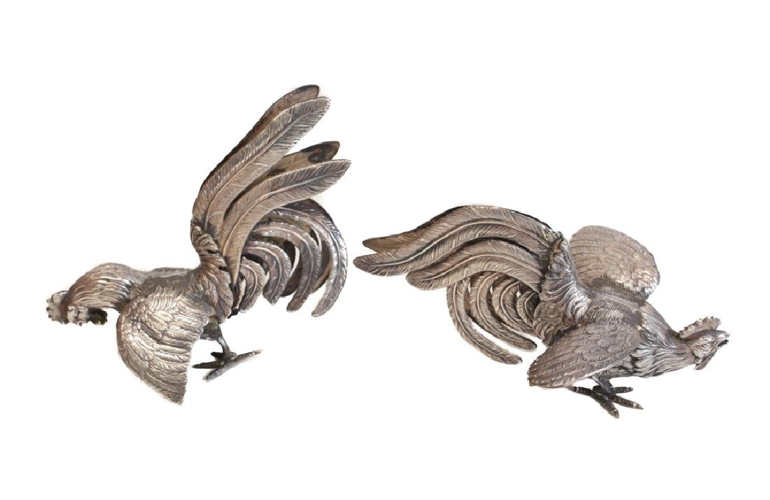 Pair of Silver Bird Figure Ornaments - 2
