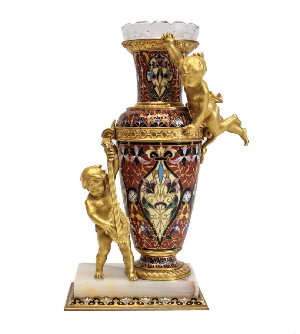 Champleve Enamel Figural Gilt Bronze Vase