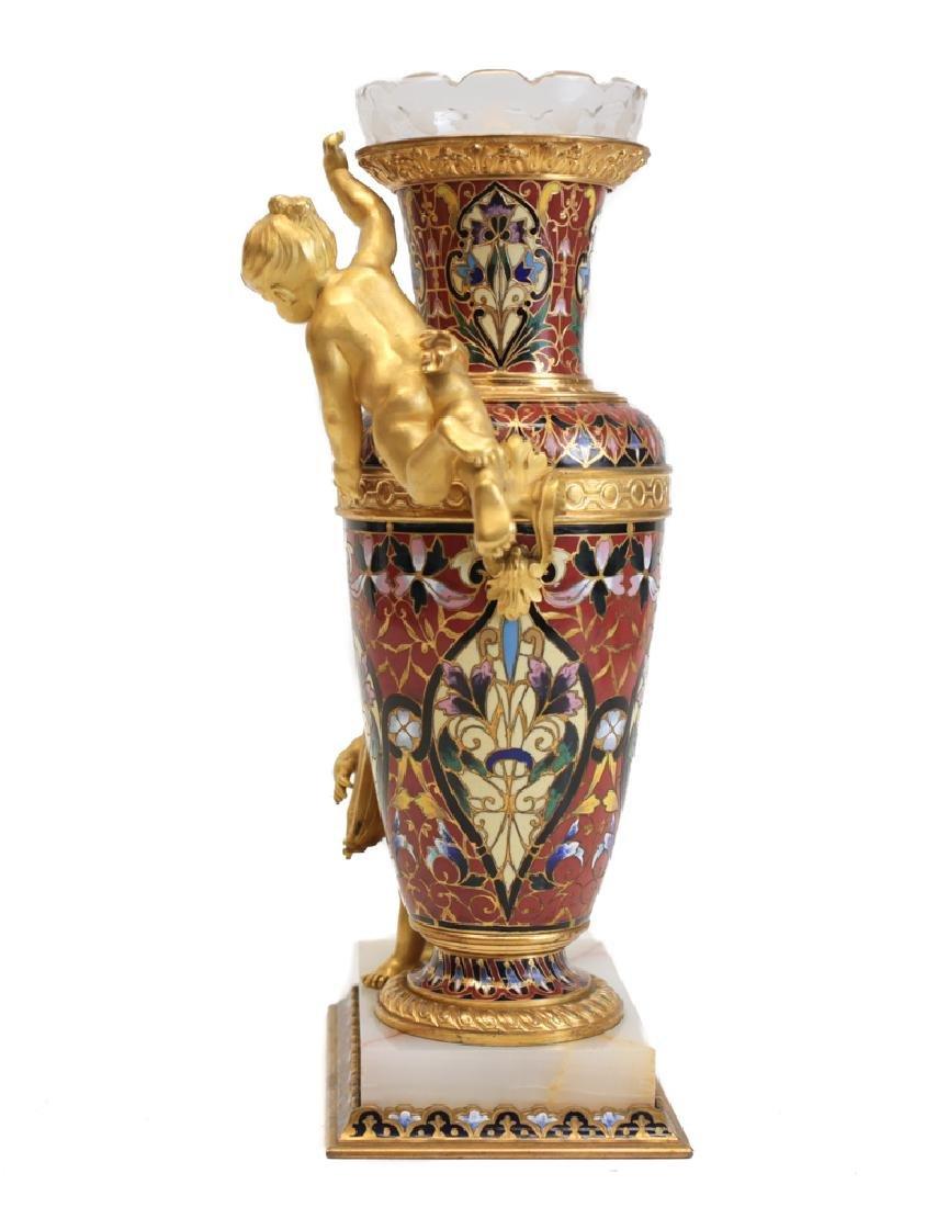 Champleve Enamel Figural Gilt Bronze Vase - 2
