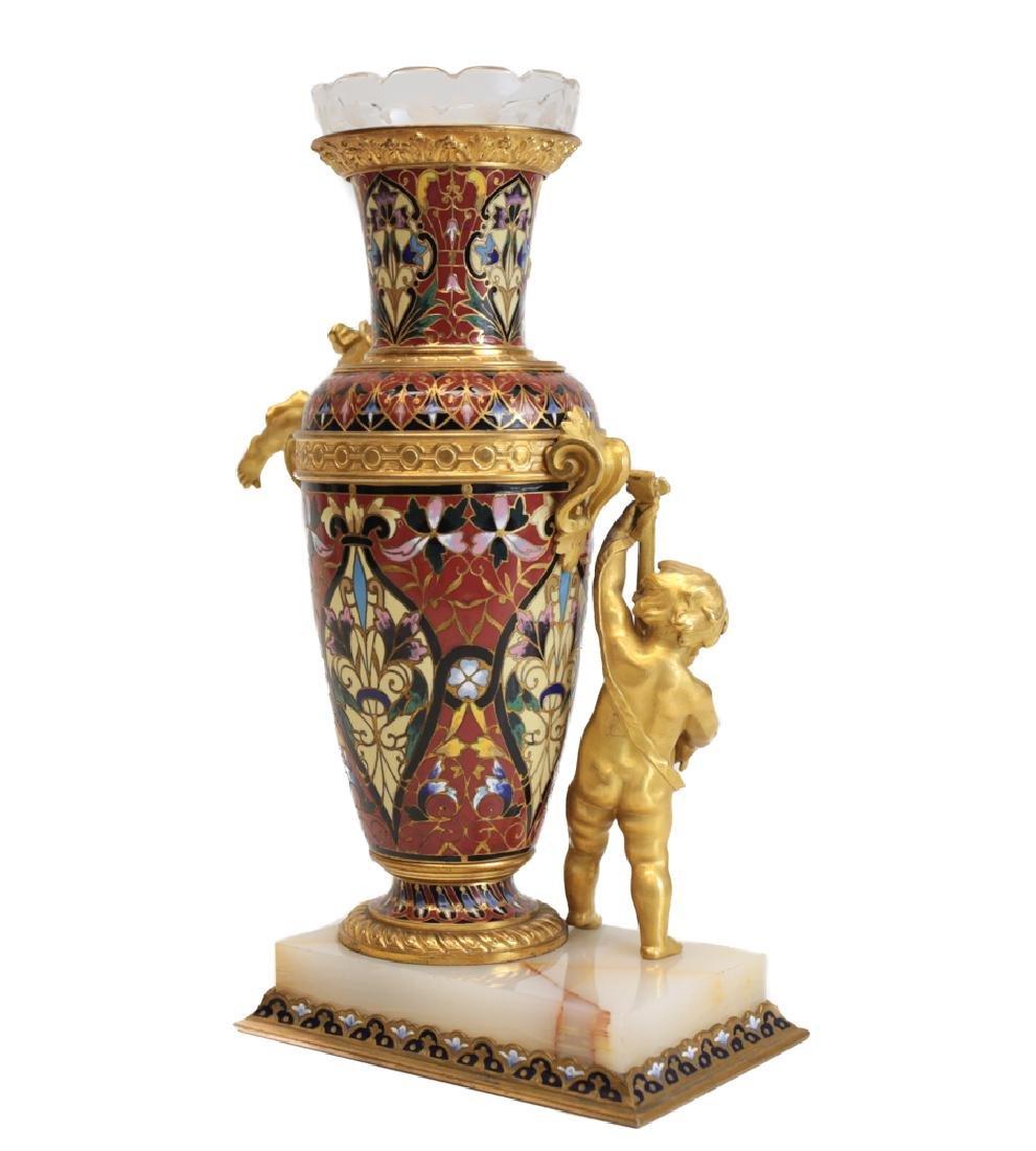 Champleve Enamel Figural Gilt Bronze Vase - 3