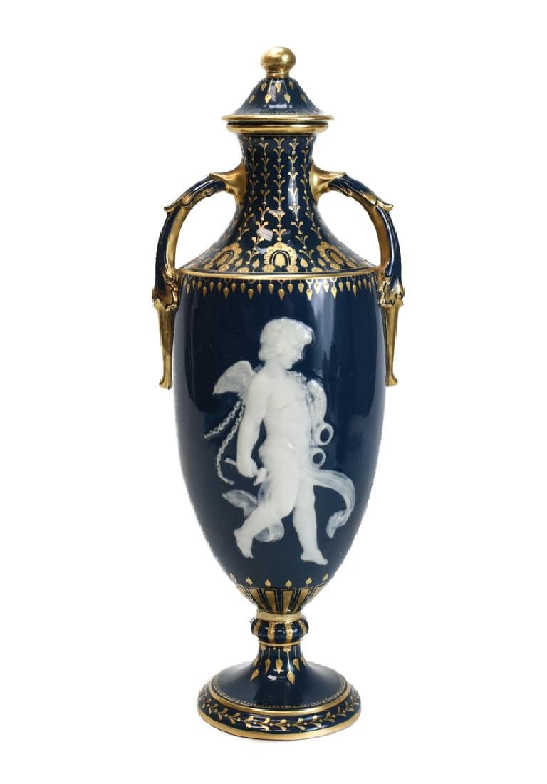 Minton Pate-Sur-Pate Decorated Vase by Solon