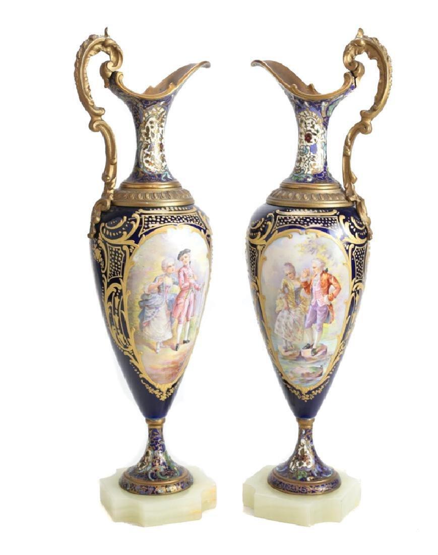 Sevre Porcelain & Champleve Ewers