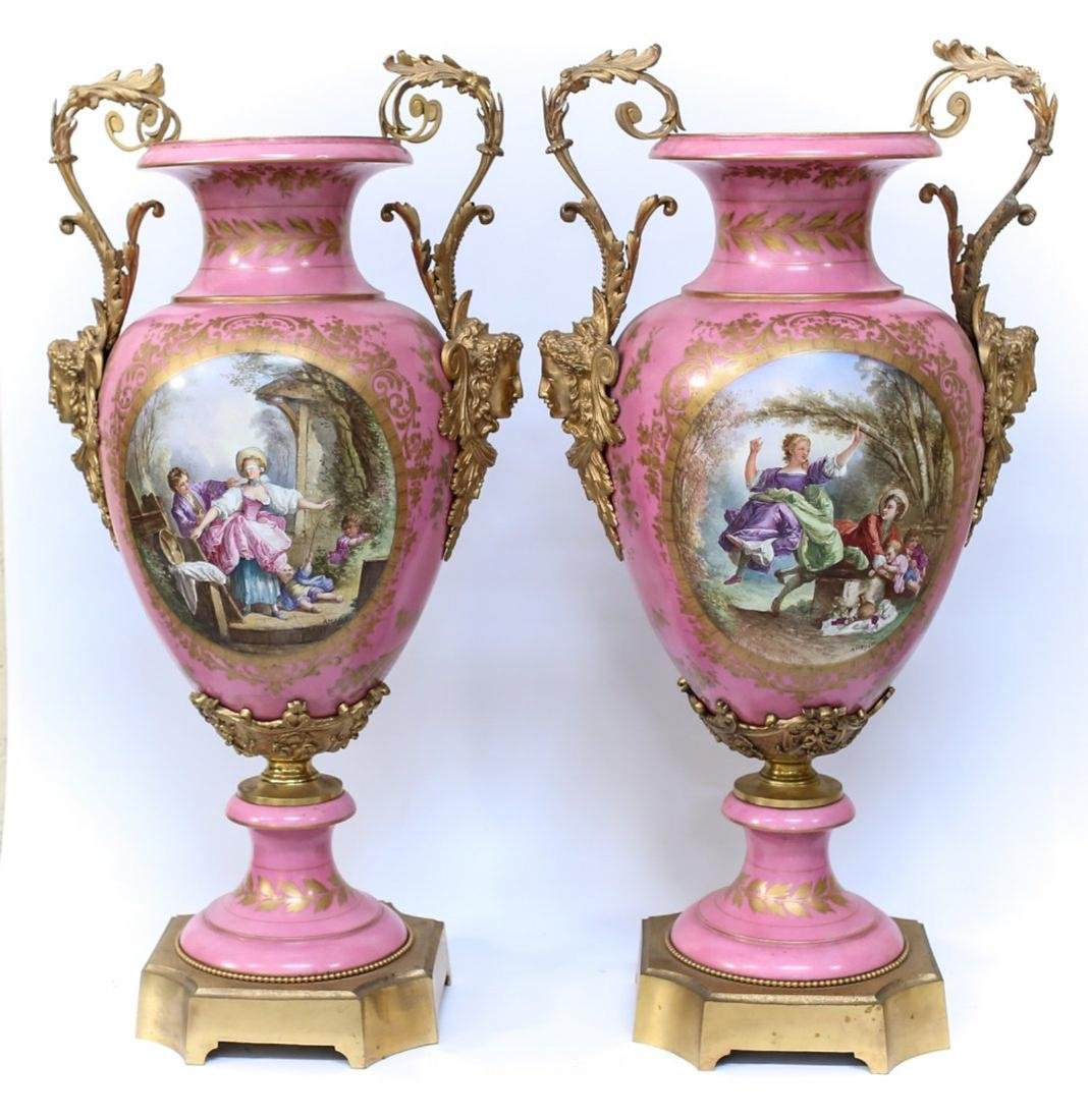 Pair 19th C. Sevres Porcelain & Bronze Urns