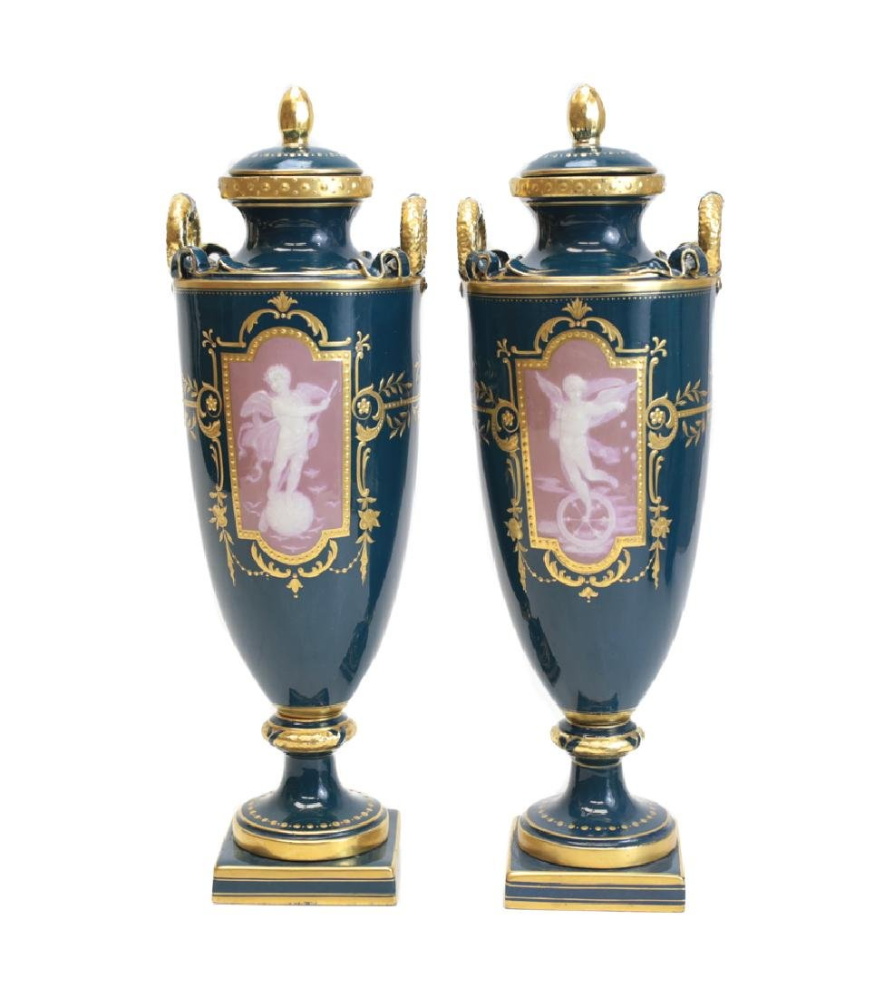 Pair Minton Pate-Sur-Pate Decorated Urns by A Birks