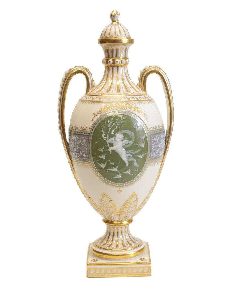 Minton Pate-Sur-Pate Decorated Urn by L Birks