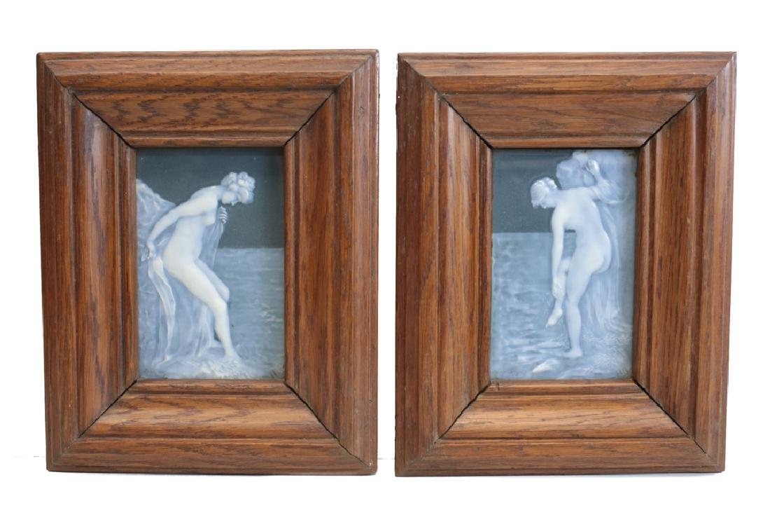 Pair Pate-Sur-Pate Decorated Porcelain Plaques