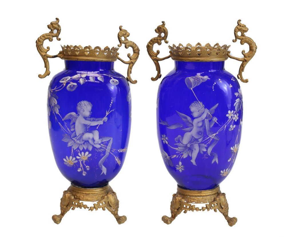 Pair Enamel Decorated Glass Vases