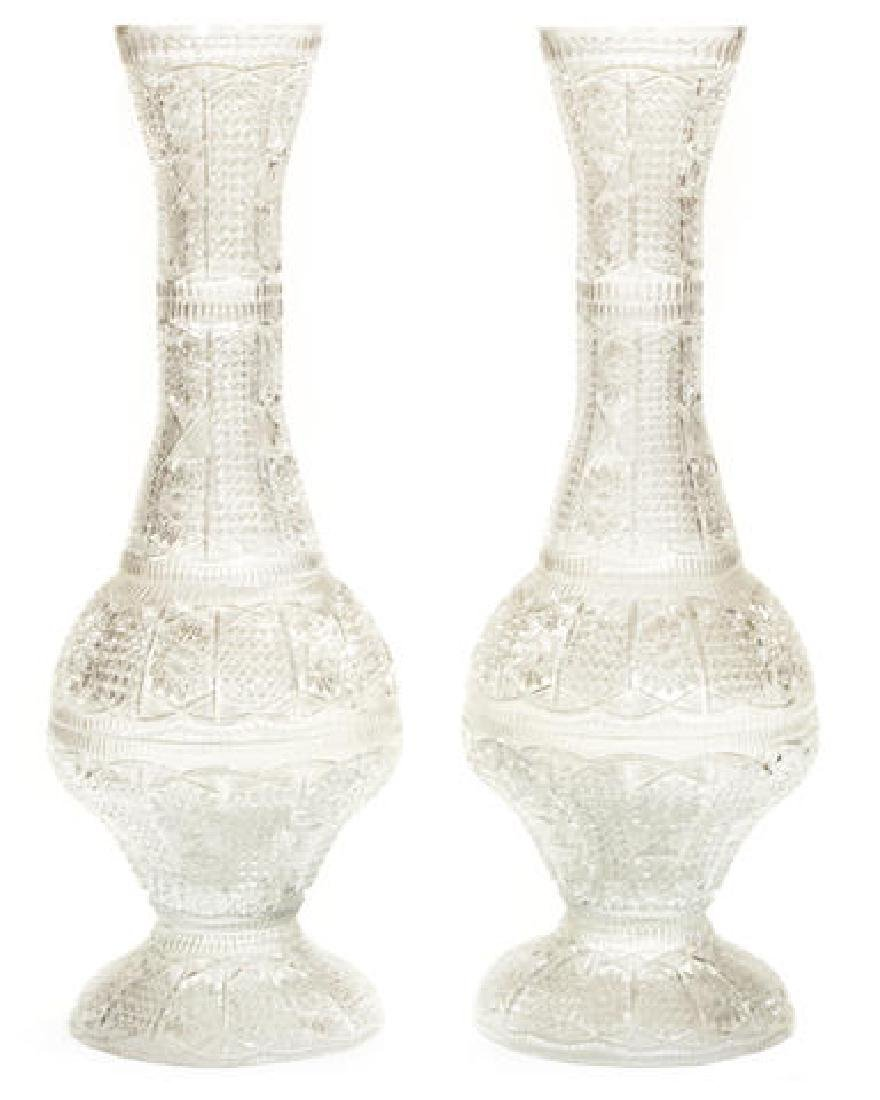 Imposing Pair of Brilliant Cut Crystal Vases 36""