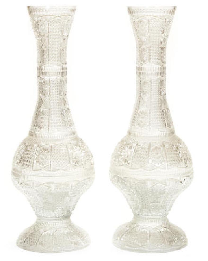 "Imposing Pair of Brilliant Cut Crystal Vases 36"""