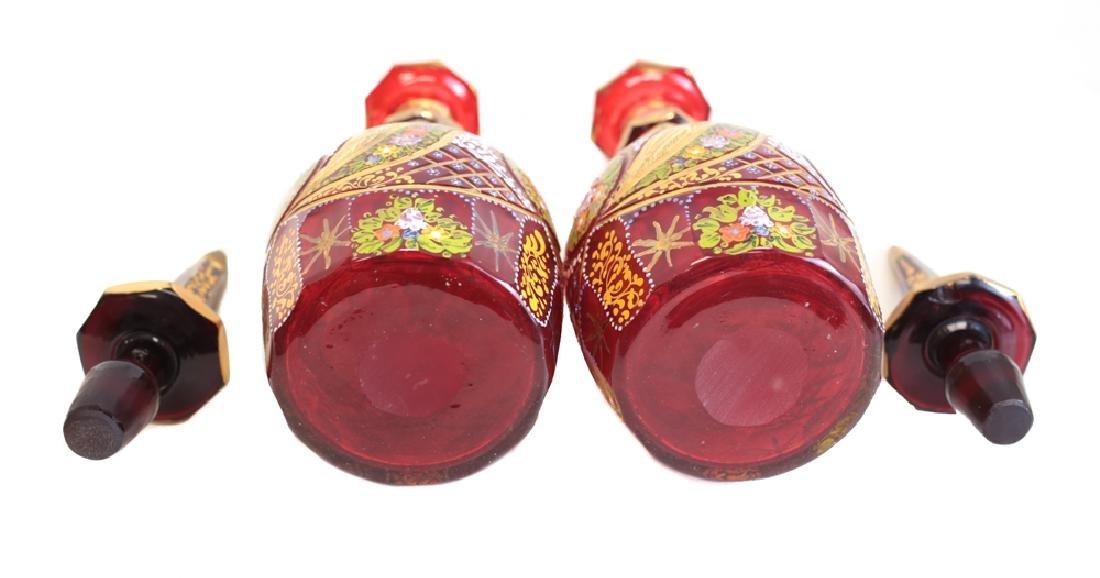 Pair of Bonhemian Glass Decanters - 4