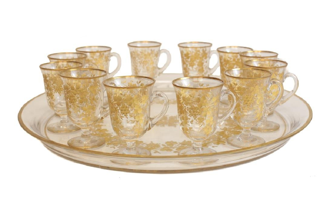 Gilt Glasses with Tray