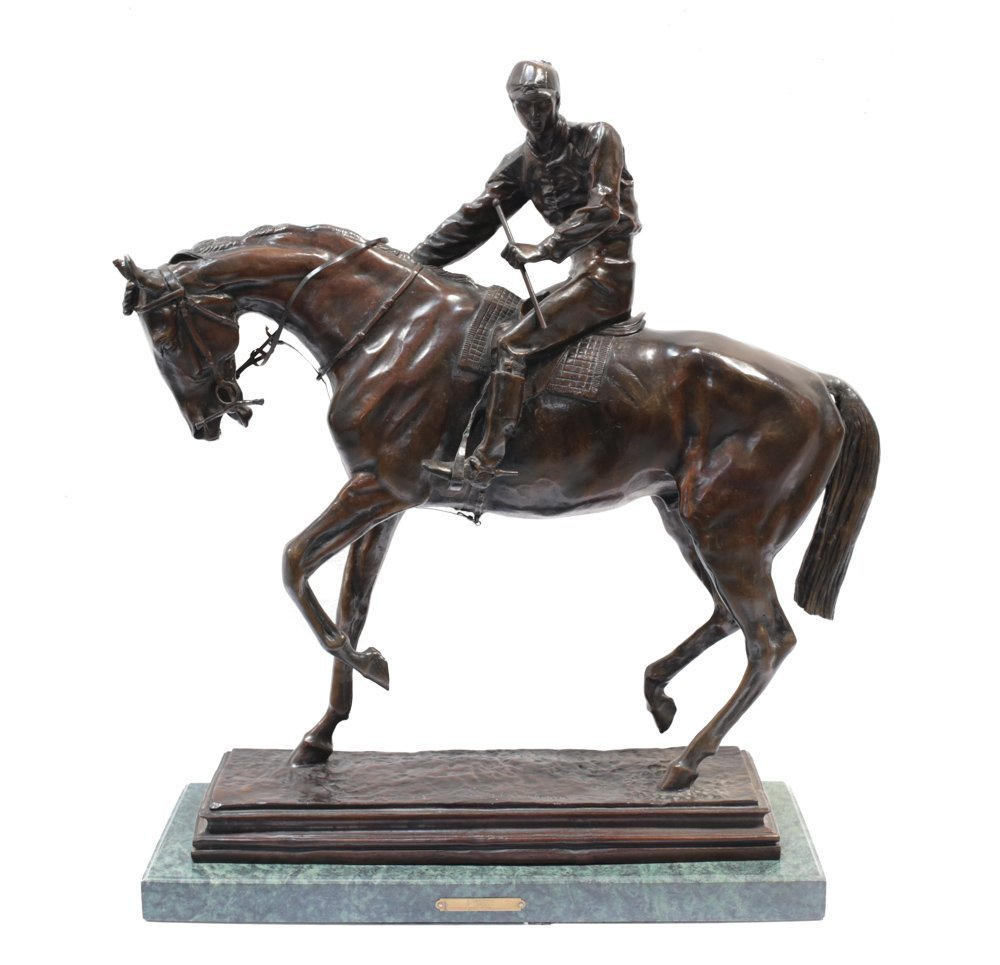 Large Bronze Horse Jockey Sculpture