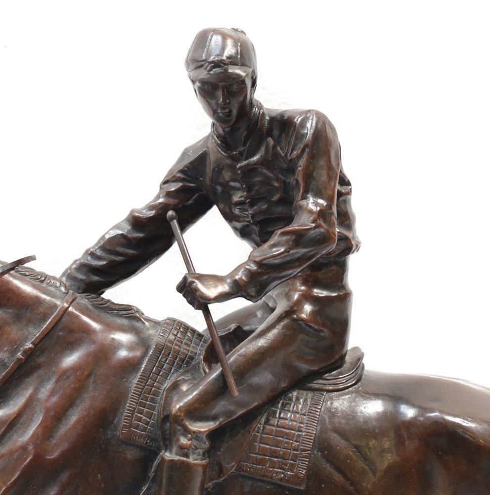 Large Bronze Horse Jockey Sculpture - 2