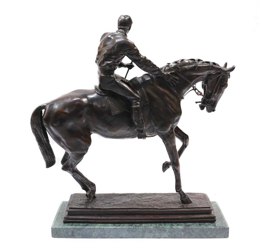 Large Bronze Horse Jockey Sculpture - 4
