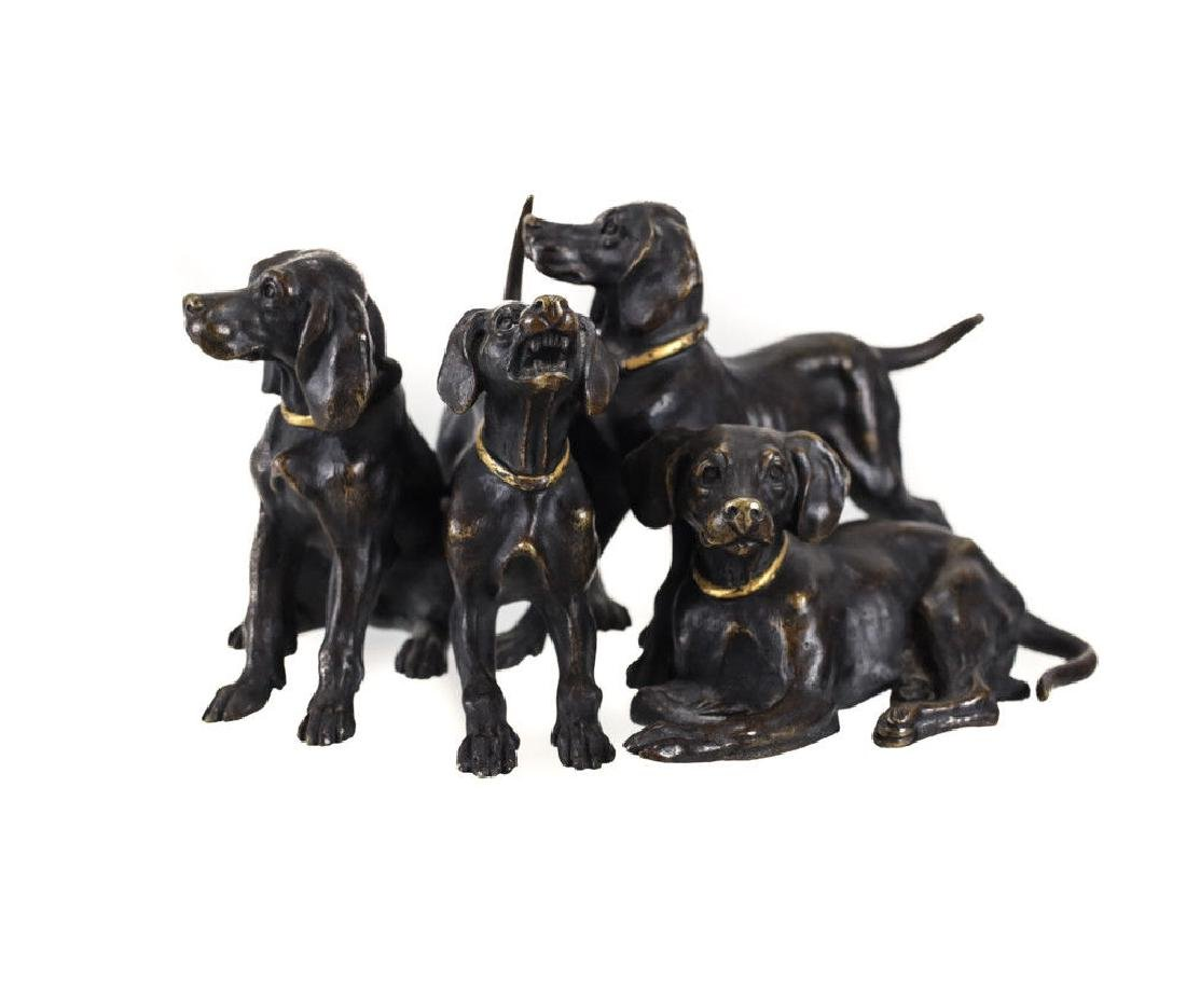 Cold Painted Bronze Dog Hunting Figures