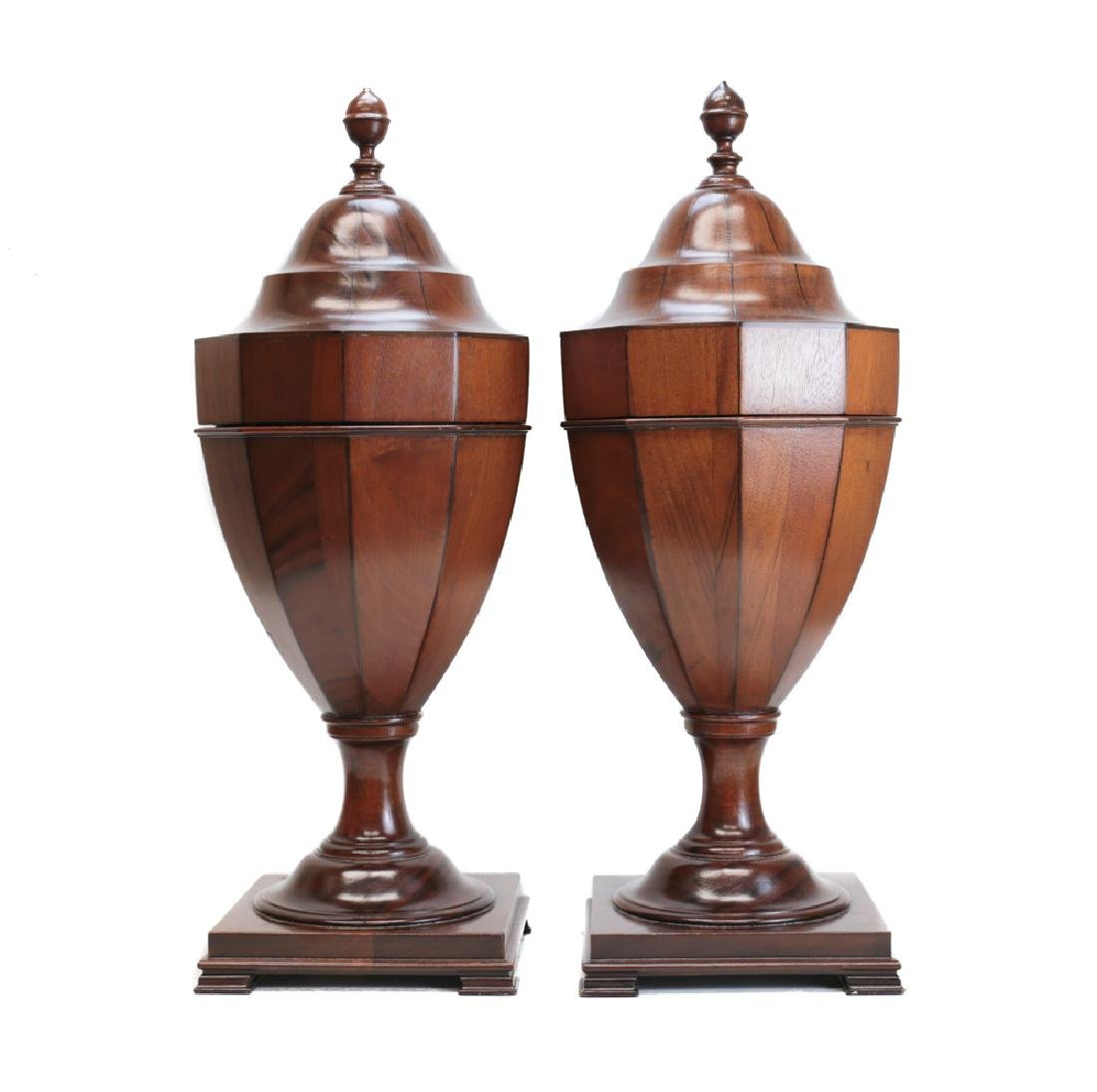 Pair Victorian Inlaid Wooden Utensil Boxes