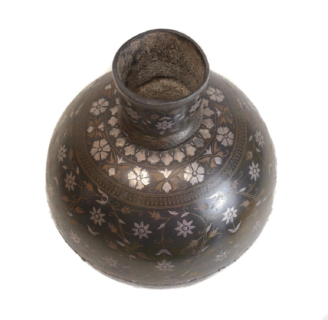 Indian Inlaid Bidri Vase - 3