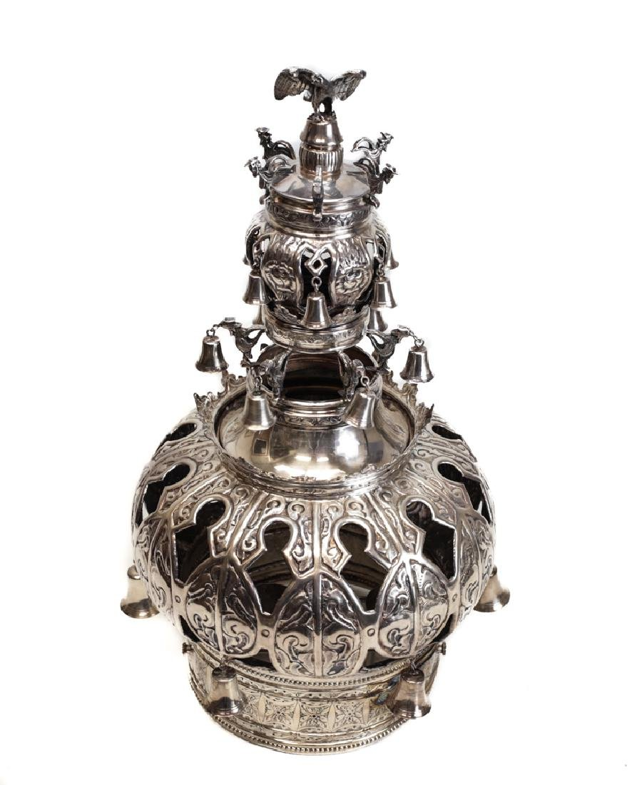 Large Silver Judaic Torah Scroll Crown