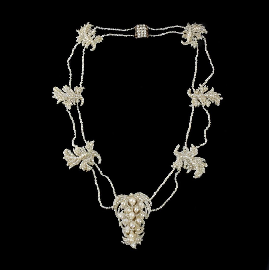 Victorian Seed Pearl Foliate Necklace