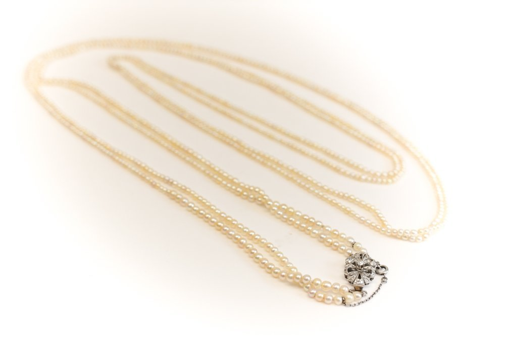 Opera Length Double Strand Pearl Necklace